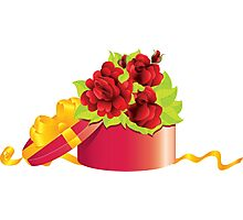Roses in gift box Photographic Print