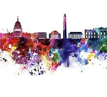 Washington DC skyline in watercolor on white background  by paulrommer