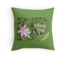 Pink Flower Thank You Throw Pillow
