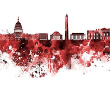 Washington DC skyline in watercolor on red background  by paulrommer