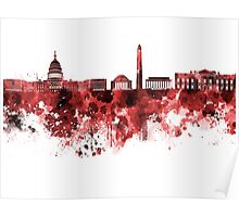 Washington DC skyline in watercolor on red background  Poster