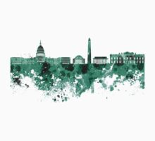 Washington DC skyline in green watercolor on white background  Kids Clothes