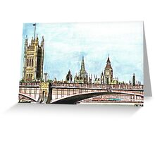 Lambeth Bridge and The Palace of Westminster. Greeting Card