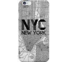 Black and White Vintage NYC Map iPhone Case/Skin
