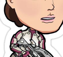Mass Effect - Ashley Williams with Assault Rifle Chibi Sticker Sticker