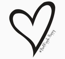 #BeARipple...Happy Black Heart on White by BeARipple
