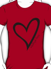 #BeARipple...Happy Black Heart on Red T-Shirt
