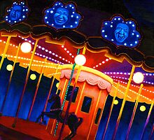 Carousel , Oil Painting bright night carnival creepy scene , Illustration Art Print  by IrenesGoodies