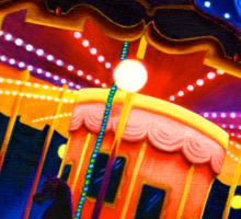 Carousel , Oil Painting bright night carnival creepy scene , Illustration Art Print  Sticker