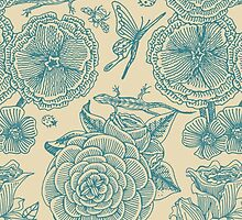 Garden Bliss - teal & cream  by Perrin Le Feuvre