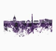 Washington DC skyline in purple watercolor on white background  Kids Clothes