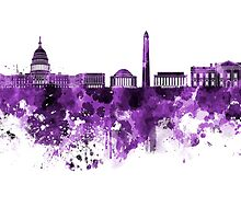 Washington DC skyline in purple watercolor on white background  by paulrommer