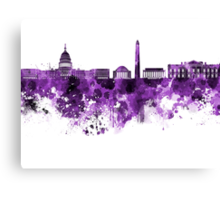 Washington DC skyline in purple watercolor on white background  Canvas Print