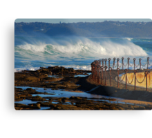 Waves over the Canoe Pool - Newcastle Beach NSW Metal Print