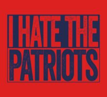 I Hate The Patriots - New York Giants T-Shirt - Show Your Team Spirit - Blue Box Design - Haters Gonna Hate by BeefShirts