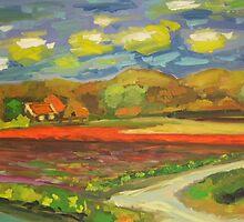 tulip field in holland by simon borst