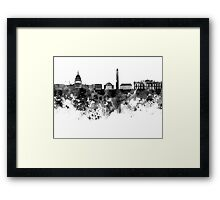 Washington DC skyline in black watercolor on white background  Framed Print