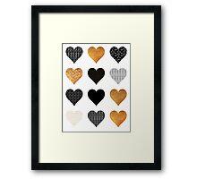 Gold, black, white hearts Framed Print
