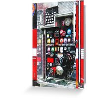 Firemen - Colorful Gauges on Fire Truck Greeting Card