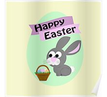 Happy Easter Gray Bunny Poster