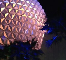 Spaceship Earth at Night by disneyfied