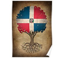 Tree of Life with Dominican Republic Flag Poster