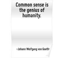 Common sense is the genius of humanity. Poster
