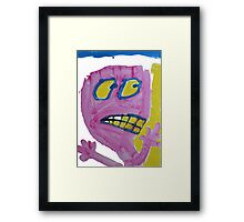 Toby - Pink Graphic Face Framed Print