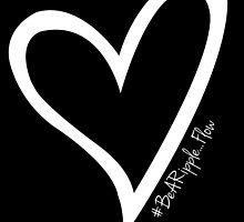 #BeARipple...FLOW White Heart on Black by BeARipple