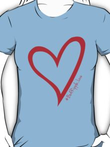 #BeARipple...LOVE Red Heart on Blue T-Shirt
