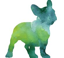 Green and blue abstract french bulldog watercolor painting by Joanna Szmerdt