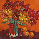 Tulips and oranges by Vitali Komarov