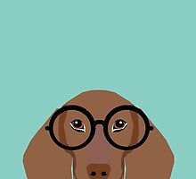 Remy - Fashion Glasses Doxie Dashcund Hipster Dog  by PetFriendly