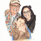 Family @ school open house watercolor by Mike Theuer