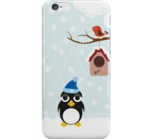 Snowman and penguin enjoying winter iPhone Case/Skin
