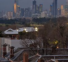 View of Melbourne and surrounds from me roof #1 (post critique phase) by Col  Finnie