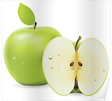 Green apple and half of apple  Poster