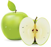 Green apple and half of apple  Photographic Print