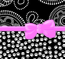 Ribbon, Bow, Dog Paws, Circles - White Black Pink by sitnica