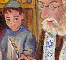 PAINTINGS OF JEWISH CULTURE THE TORAH LESSON  Sticker