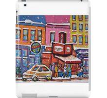 MONTREAL SNOWY DAY AT SCHWARTZ'S DELI CANADIAN ART BY CANADIAN ARTIST CAROLE SPANDAU iPad Case/Skin