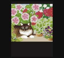 Maine Coon Cat in Patio Jungle Garden by Carolyn  McFann