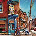 HOCKEY CULTURE PAINTINGS STREET HOCKEY GAME AT THE CORNER STORE CANADIAN PAINTINGS by Carole  Spandau