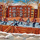 CANADIAN WINTER SCENES OUTDOOR HOCKEY GAME BY CANADIAN ARTIST CAROLE SPANDAU by Carole  Spandau