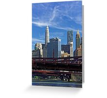 Chicago river cruise view towards  Dearborn Street Bridge Greeting Card