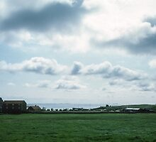 On Holy Isle looking to castle Northumbria England 198405290005 by Fred Mitchell