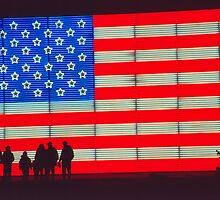 Neon American Flag with Silhouetted Family by SteveOhlsen