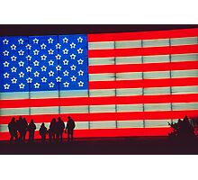 Neon American Flag with Silhouetted Family Photographic Print
