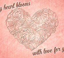 Hearts & flowers blooming love by Celeste Mookherjee