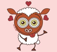 Crazy sheep feeling lucky in love Kids Clothes